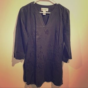 Black 100% linen Tunic by Bloomingdales